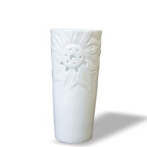 7612  バッチャン焼 ホワイト  花瓶 ひまわり|emiook