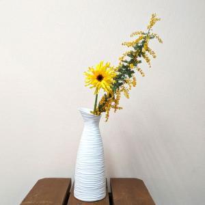 7614 バッチャン焼 ホワイト 花瓶 線彫り|emiook
