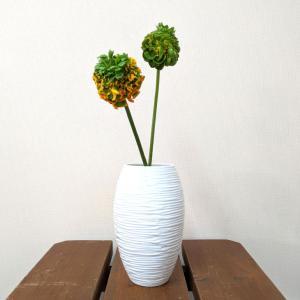 7615  バッチャン焼 ホワイト  花瓶  線彫り|emiook