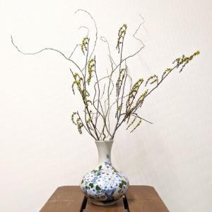 7641 バッチャン焼 小花 花瓶 |emiook