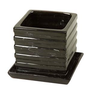 【85892】プランター フラワーポット 植木鉢 陶器 黒|emiook
