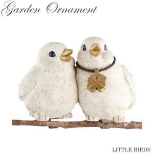 リトルバーズ ガーデンオーナメント クリップタイプ 2匹セット KH-61169【小鳥 bird スズメ sparrow  アニマルオーナメント】|emiook
