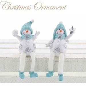 【送料無料】スノーマン ブルー 2柄アソート XIY-015 (2体1セット)【クリスマス特集 紅石 雪だるま】|emiook