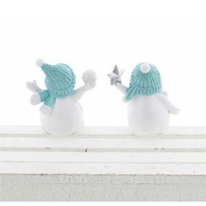 【送料無料】スノーマン ブルー 2柄アソート XIY-015 (2体1セット)【クリスマス特集 紅石 雪だるま】 emiook 02