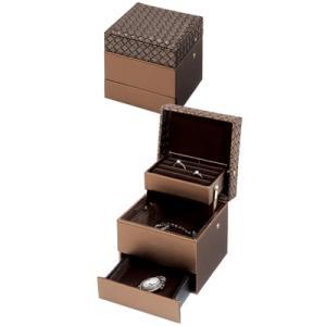 イントレチャート調 ジュエリーボックス アンジェラ キューブ 12700009-BR ブラウン マストバイ【60サイズ】|emon-shop