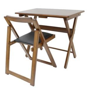 折り畳み式 便利デスク イスセット ブラウン 40-735 机椅子セット 完成品 ヤマソロ【200サイズ】|emon-shop