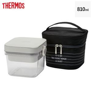 サーモス 保冷サラダコンテナー 810ml 保冷ポーチ付き DJR-950-BK ブラック【60サイズ】|emon-shop