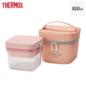 サーモス 保冷サラダコンテナー 810ml 保冷ポーチ付き DJR-950-P ピンク【60サイズ】 emon-shop