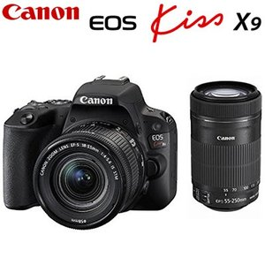 【即納】キヤノン デジタル一眼レフカメラ EOS Kiss X9 ダブルズームキット ブラック EOSKISSX9BK-WKIT CANON【100サイズ】|emon-shop