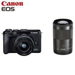 Canon キヤノン ミラーレス一眼カメラ EOS M6 Mark II ダブルズームキット EOSM6MK2BK-WZK ブラック【80サイズ】|emon-shop