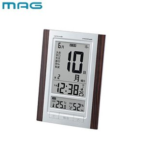 MAG 環境目安表示付デジタル電波時計 ロゼッタ W-607-BR ブラウン/木目仕上 【60サイズ...