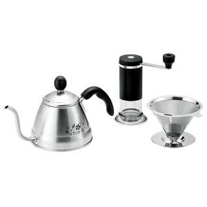 使い勝手の良いスリムタイプのコーヒーミルと、ポット、ドリッパーのセットです。