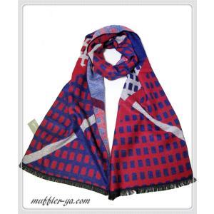 色:赤ブルー系 サイズ(約):32cm×182cm 素材:100%シルク 中国製  シルク100%の...
