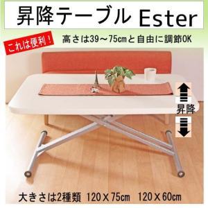 昇降テーブル カンタン操作 幅120奥行75高さ39〜75cm(エステル)fr002-1(代引不可)|emono