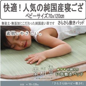 やわらかいイ草の寝ござ敷きパッド(さらさらKAベビー敷P)ベビー70x120cm kh755-3|emono