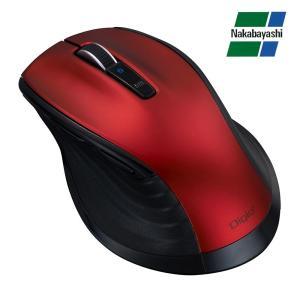 ナカバヤシ Digio2 F_line 大型 Bluetooth 静音 5ボタンBlueLEDマウス レッド MUS-BKF149R|emonolife