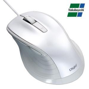 ナカバヤシ Digio2 F_line 大型 有線 静音 5ボタンBlueLEDマウス ホワイト MUS-UKF148W|emonolife