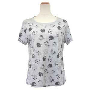 CAT SYMPHONICA(キャット シンフォニカ) Tシャツ (レディース) フェイス柄 (グレー) 6028|emonolife