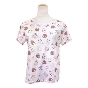 CAT SYMPHONICA(キャット シンフォニカ) Tシャツ (レディース) フェイス柄 (サーモンピンク) 6029|emonolife