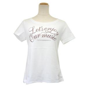 CAT SYMPHONICA(キャット シンフォニカ) Tシャツ (レディース) スリム/ロゴA (S オフホワイト) 6030|emonolife