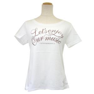 CAT SYMPHONICA(キャット シンフォニカ) Tシャツ (レディース) スリム/ロゴA (M オフホワイト) 6031|emonolife