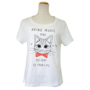 CAT SYMPHONICA(キャット シンフォニカ) Tシャツ (レディース) ポロム (オフホワイト) 6036|emonolife