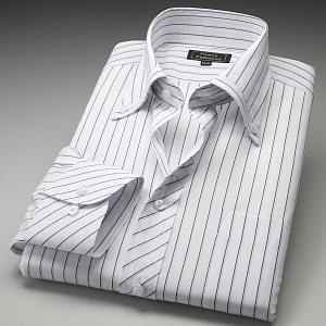 ワイシャツ ボタンダウン ホワイト ブラック パープルストライプ|emperormart