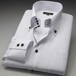 ワイシャツ トレボットーニ ボタンダウン ホワイト織ストライプ|emperormart