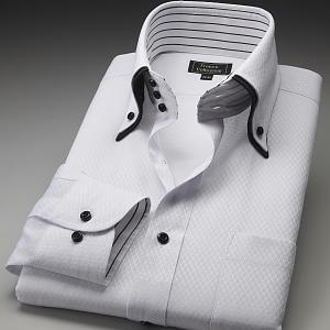 ワイシャツ ダブルカラー トレボットーニ ボタンダウン ホワイト織チェック|emperormart