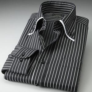 ワイシャツ ダブルカラー ドゥエボットーニ ボタンダウン ブラック ホワイトストライプ|emperormart