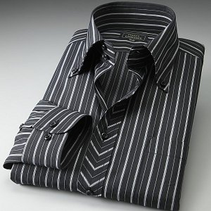 ワイシャツ ドゥエボットーニ ボタンダウン ブラック ホワイトストライプ|emperormart