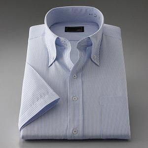 ワイシャツ 2.5ボタン スリムフィット ドゥエボットーニ ボタンダウン 半袖|emperormart