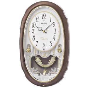 セイコー 掛け時計 電波 アナログ 16曲メロディ 飾り振り子 茶マーブル模様 AM260A|empire-clock