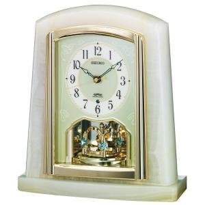 セイコー 置き時計 電波 アナログ 回転飾り オニキス枠 BY223M|empire-clock