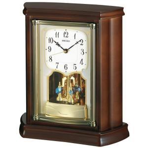 セイコー 置き時計 電波 アナログ 回転飾り 木枠 濃茶木地 BY233B|empire-clock