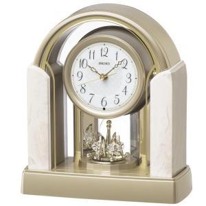 セイコー 置き時計 電波 アナログ 回転飾り アイボリーマーブル模様 BY236G|empire-clock