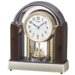 セイコー 置き時計 スタンダード 電波時計 ツイン・パ (濃茶マーブル模様光沢仕上げ) BY238B|empire-clock