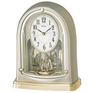 セイコー 置き時計 電波 アナログ 回転飾り 薄金色パール BY241G|empire-clock