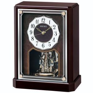 セイコー 置き時計 電波 アナログ 回転飾り 木枠 濃茶木地 BY243B|empire-clock