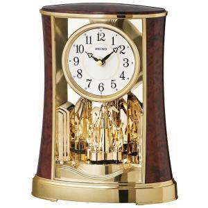 セイコー 置き時計 アナログ 回転飾り 濃茶木目模様 BY427B|empire-clock