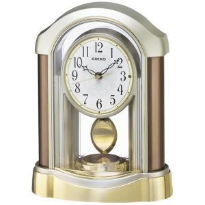 セイコー 置き時計 電波 アナログ 飾り振り子 薄金色パール BZ238B|empire-clock