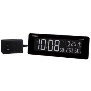 SEIKO セイコー 目覚まし時計 夜でも見える 暗くても見える 電波 デジタル 交流式 カラー液晶 シリーズC3 黒 DL205K【お取り寄せ】|empire-clock