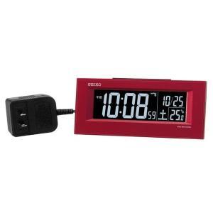 SEIKO セイコー 目覚まし時計 夜でも見える 暗くても見える 電波 交流式 デジタル 赤メタリック DL209R【お取り寄せ】|empire-clock
