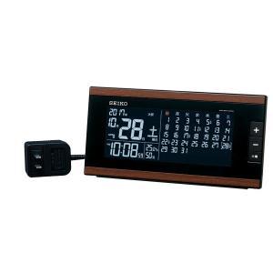 SEIKO セイコー 目覚まし時計 夜でも見える 暗くても見える 置き時計 電波 デジタル DL212B 月めくりカレンダー 六曜表示 温度計 湿度計 おしゃれ【お取り寄せ】|empire-clock