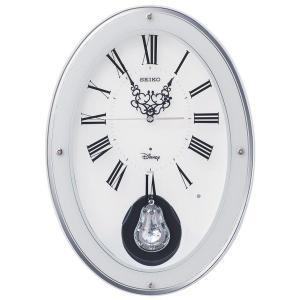 セイコー 掛け時計 ミッキーマウス 電波 アナログ 12曲メロディ 飾り振り子 大人ディズニー 木枠 白 FS508W|empire-clock