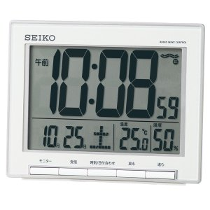 SEIKO セイコー 目覚まし時計 電波 デジタル カレンダー 温度表示 SQ786S【お取り寄せ】|empire-clock