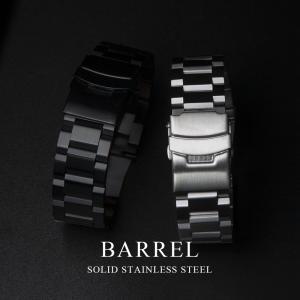 EMPIRE BARREL バーレル ソリッドステンレス メタル 時計 ベルト バンド 20mm 22mm イージークリック バンド調整工具付き|empire