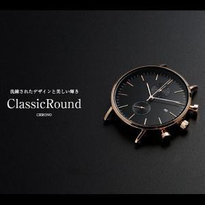 腕時計 メンズ クロノグラフ ローズゴールド ブラック Classic Round Chrono 41mm ベルト別売り|empire