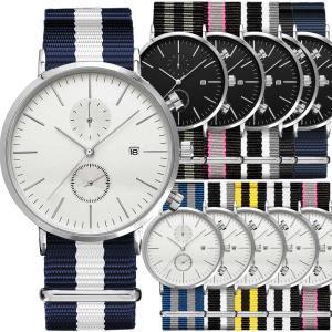 腕時計 メンズ Classic Round Chrono 41mm メンズ 腕時計 クロノグラフ + ナイロン NATO ベルト付|empire