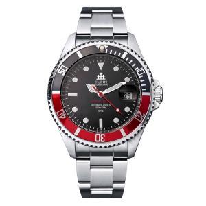 ELGIN エルジン メンズ 腕時計 自動巻き ダイバー 200M防水 ブラック レッド|empire